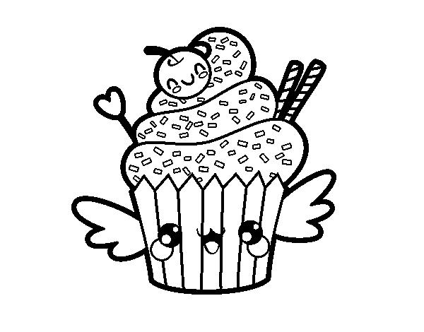 Coloriage de une cupcake kawaii pour colorier - Dessin cupcake ...
