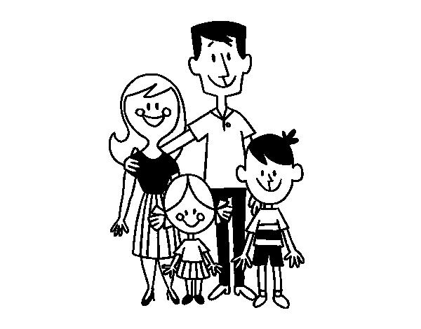 Imagen De Una Familia Feliz Animada: Coloriage De Une Famille Heureuse Pour Colorier