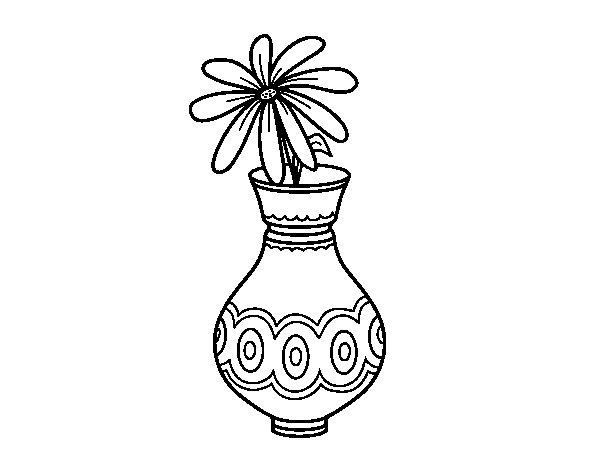 Coloriage de une fleur dans un vase pour colorier - Une fleur dessin ...