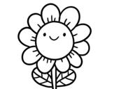 Dibujo de Une fleur souriante