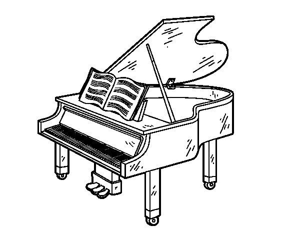 Coloriage de une grand piano ouvert pour colorier - Coloriage piano ...