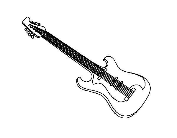 Coloriage de Une guitare électrique pour Colorier