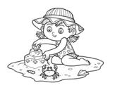 <span class='hidden-xs'>Coloriage de </span>Une jeune fille jouant sur la plage à colorier