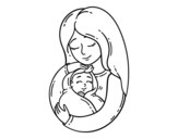 <span class='hidden-xs'>Coloriage de </span>Une mère et son bébé à colorier