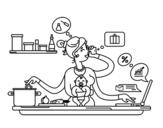 Dibujo de Une mère multitâche
