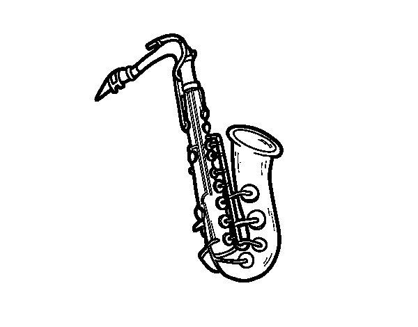 Coloriage de Une saxophone ténor pour Colorier