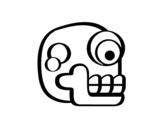 <span class='hidden-xs'>Coloriage de </span>Une tête de mort aztèque à colorier