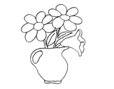 <span class='hidden-xs'>Coloriage de </span>Vase avec des marguerites à colorier
