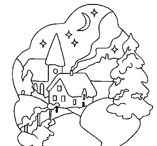 Coloriage de village de no l pour colorier - Village de noel dessin ...