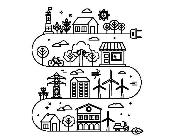Coloriage de ville cologique pour colorier - Coloriage ville ...