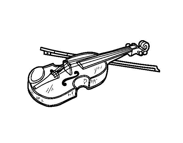 Coloriage de Violon Stradivarius pour Colorier