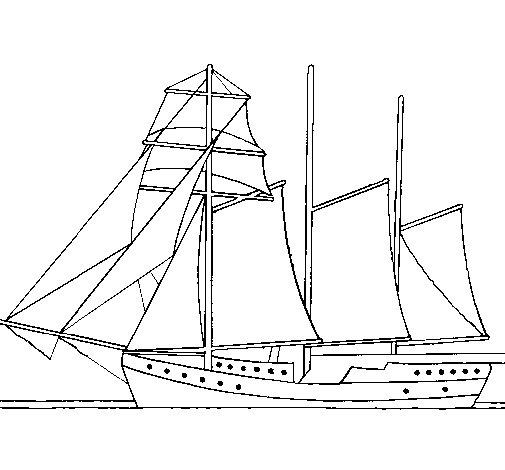 Coloriage de voilier trois m ts pour colorier - Voilier dessin ...