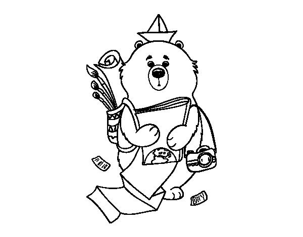 Coloriage de voyageur ours pour colorier - Voyageur dessin ...