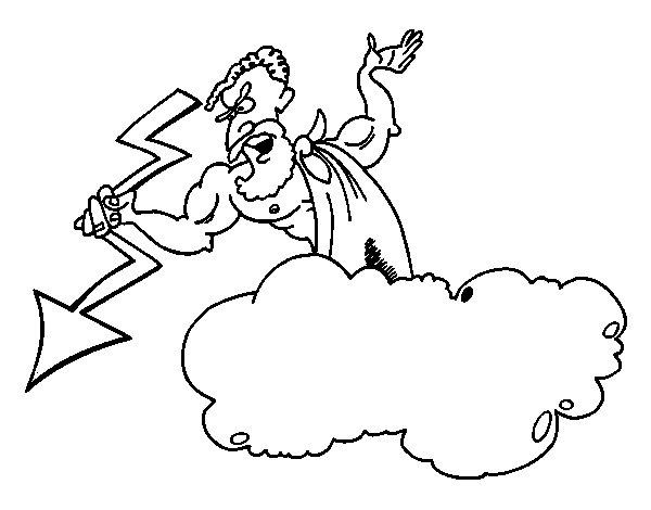 Coloriage de Zeus avec un foudre pour Colorier