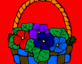 Coloriage Panier de fleurs 6 colorié par douglas