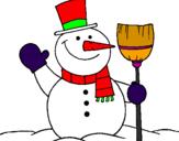 Coloriage bonhomme de neige avec balai colorié par amine
