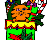Coloriage Chaussette avec des cadeaux colorié par fredou