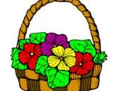 Coloriage Panier de fleurs 6 colorié par panier fleur 2