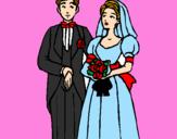 Coloriage Les mariés III colorié par sara