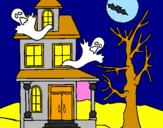 Coloriage Maison de l'horreur colorié par sara