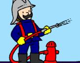 Coloriage Pompier colorié par pierre-yves