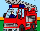 Coloriage Voiture de pompiers colorié par pierre-yves