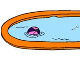 Coloriage Ball dans la piscine colorié par pablo