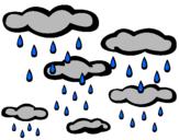 Coloriage Pluvieux colorié par nuageux
