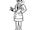 Coloriage Femme médecin à lunettes colorié par petit bout