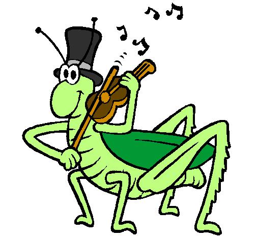 Dessin de sauterelle avec violon colorie par membre non - Sauterelle dessin ...