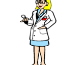 Coloriage Femme médecin à lunettes colorié par dudule