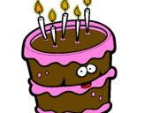 Coloriage Gâteau d'anniversaire 2 colorié par dudule