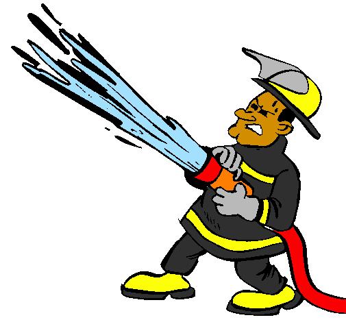 Dessin de pompier avec lance d 39 incendie colorie par membre - Dessin d un camion de pompier ...