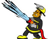 Coloriage Pompier avec lance d'incendie colorié par cindy