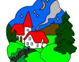 Coloriage Village de Noël colorié par lamjoub