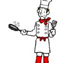 Coloriage Cuisinier en plein travail colorié par HANANE