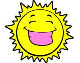 Coloriage Soleil content colorié par assia ouchenir