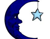 Coloriage Lune et étoile colorié par esther