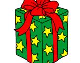 Coloriage Cadeau enveloppé dans du papier à étoiles colorié par s