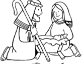 Coloriage Ils adorent l'enfant Jésus colorié par titouan