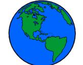Coloriage Planète Terre colorié par cynthia