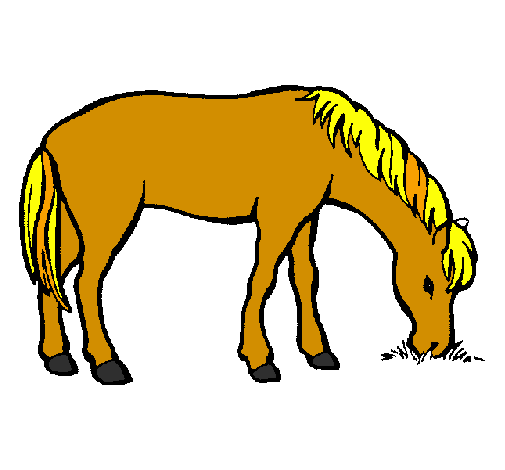 dessin de cheval qui mange colorie par membre non inscrit le 16 de ao t de 2011. Black Bedroom Furniture Sets. Home Design Ideas