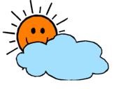 Coloriage Soleil et nuage colorié par eva