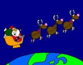 Coloriage Père Noël répartissant des cadeaux 3 colorié par ange grimaldi