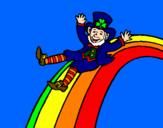 Coloriage Lutin sur l'arc-en-ciel colorié par Maëlys