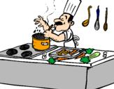 Coloriage Cuisinier dans la cuisine colorié par gladys
