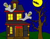 Coloriage Maison de l'horreur colorié par yann