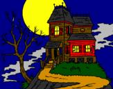 Coloriage Maison hantée colorié par yann