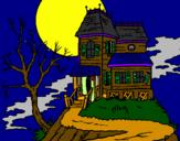 Coloriage Maison hantée colorié par XPHR