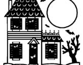 Coloriage Maison de l'horreur colorié par lucie